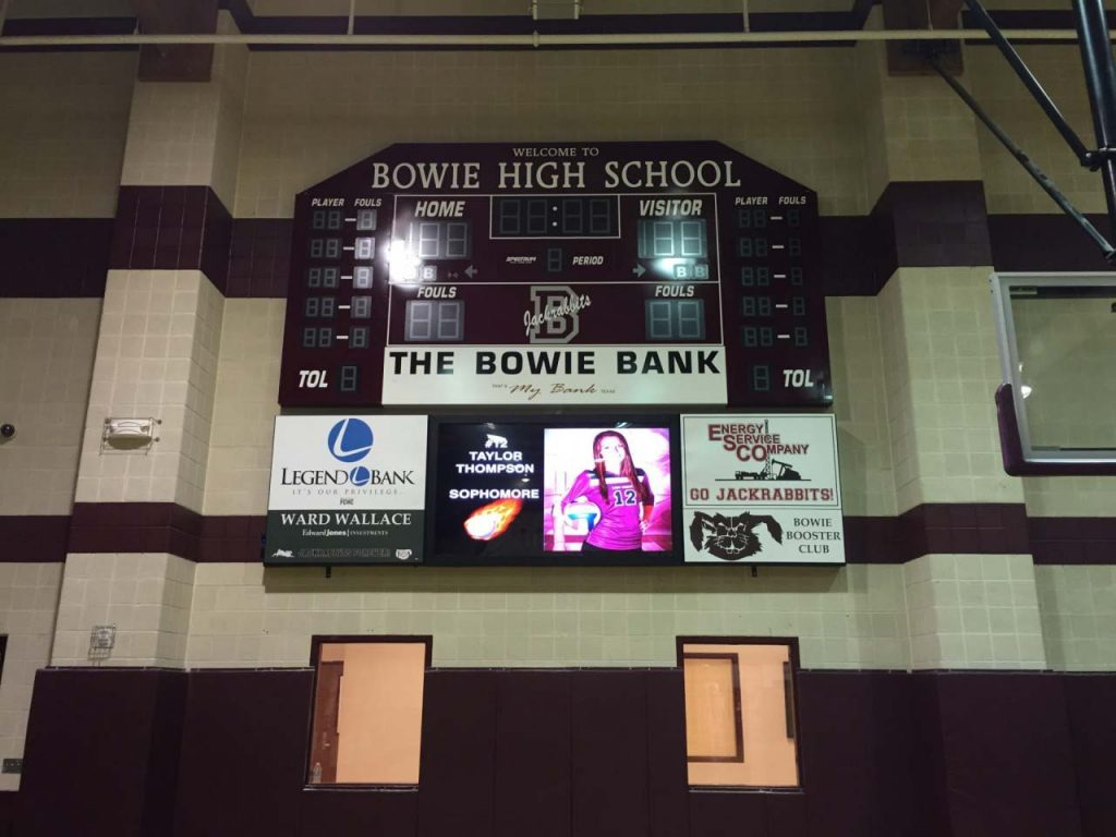 16ft LED video board with player starting lineup picture