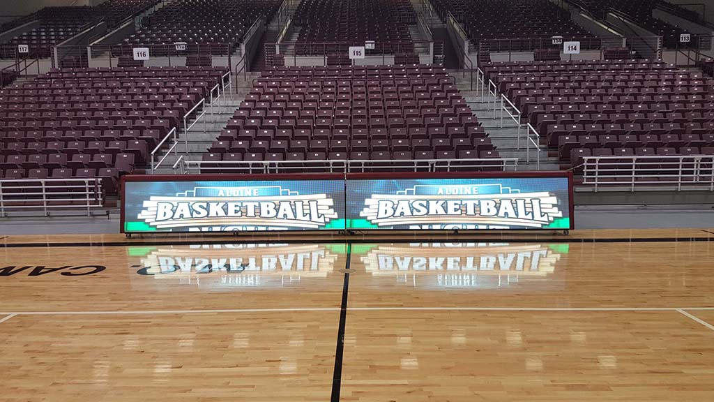 24ft PRO LED digital scorer's table in Houston's MO Campbell Center Basketball Arena