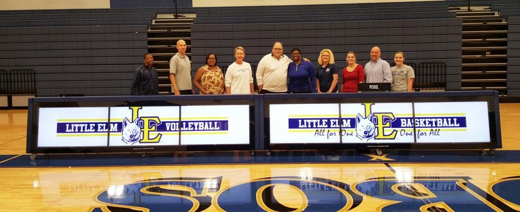 24ft digital scoring table for basketball and volleyball program at Little Elm HS, TX