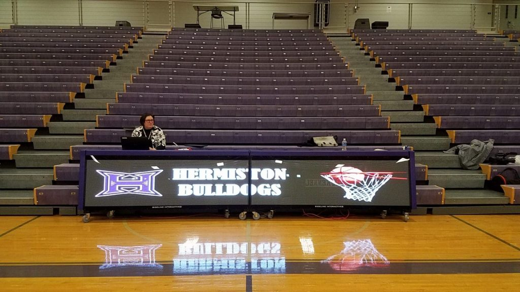 16ft LED digital scoring table, set in bleacher